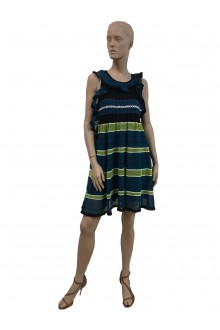 M Misson striped lurex fabric dress