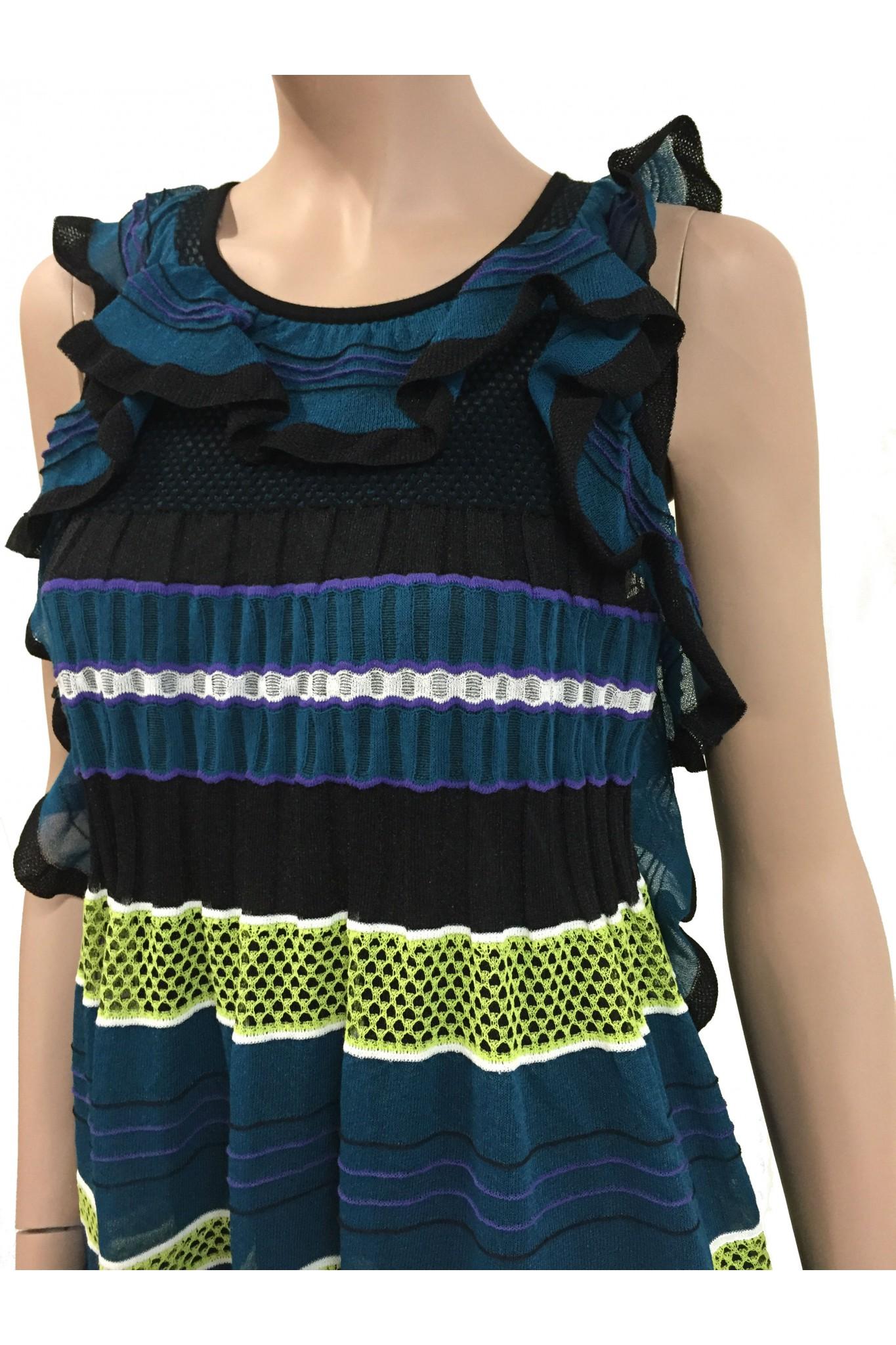 m missoni petrol blue and lime striped lurex dress online sale. Black Bedroom Furniture Sets. Home Design Ideas