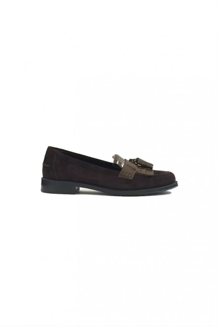 Tod's suede brown loafer
