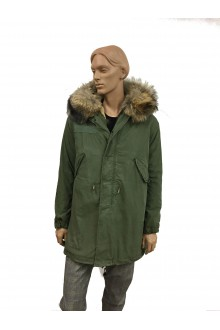 Man green vintage army Parka in lapin & murmasky