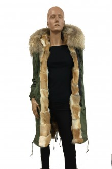 Green vintage  army Parka in coyote & murmasky with braided laces behind