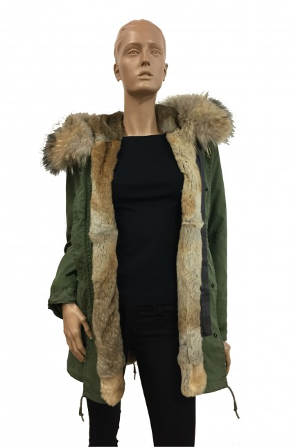 Green vintage short army Parka in lapin & murmasky