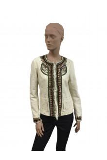 Giacca in cotone panna con ricami Bazar Deluxe