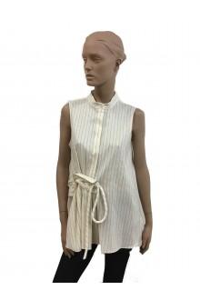 Victoria Beckham slveeveless and pinstripe shirt ivory