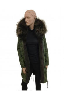 Green military parka  back in navajo fabric with fur