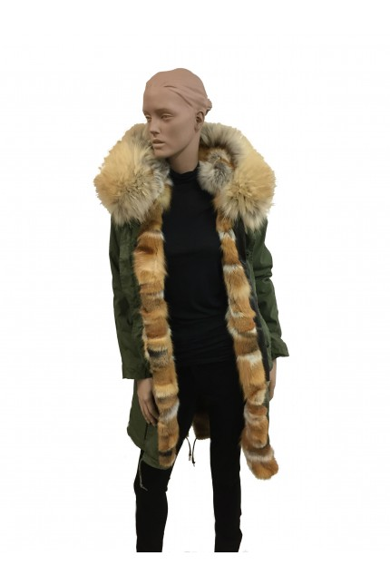 Green military parka in red fox and murmasky