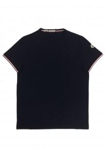T-shirt tinta unita blu Moncler