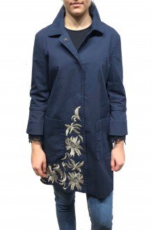 Bazar Deluxe blue cotton trench coat