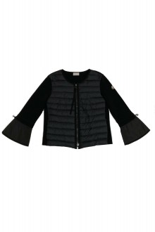 Moncler black down and cotton cardigan