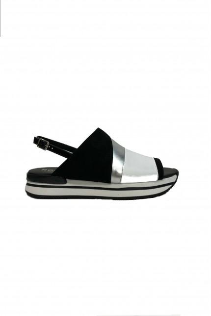 Sandalo Hogan H257bianco /nero/argento
