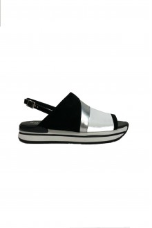 Hogan white silver and black sandal H257