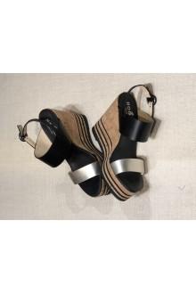 Hogan black sandal H361 black and platinum