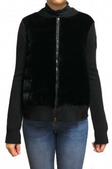 Cardigan Moncler in piuma e velluto nero