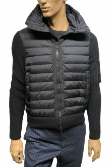 Black Moncler down and wool cardigan
