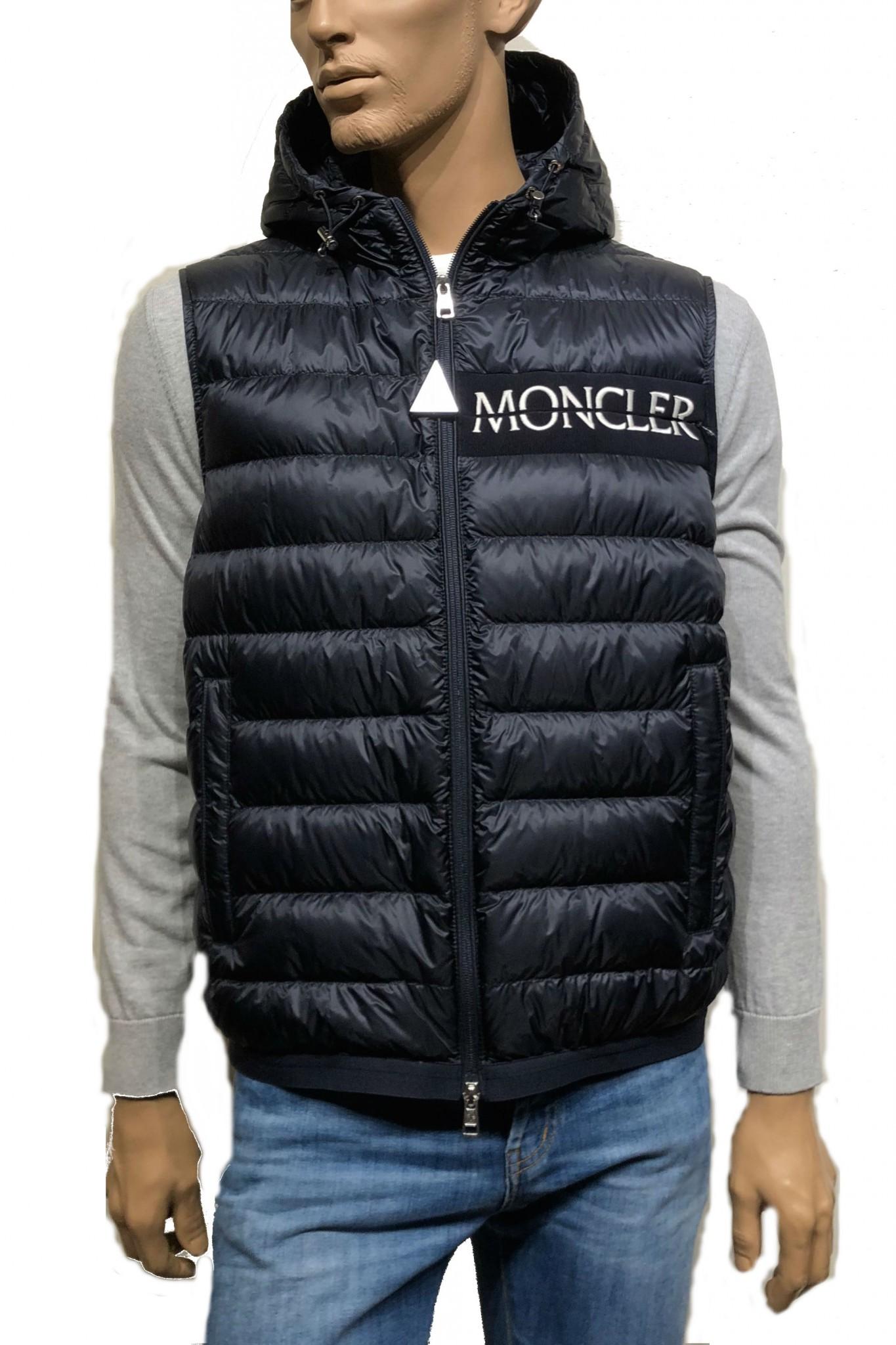 Gilet Blue Moncler Laruns For Man Online Sale