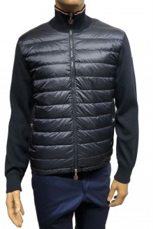 Blue Moncler down and cotton cardigan