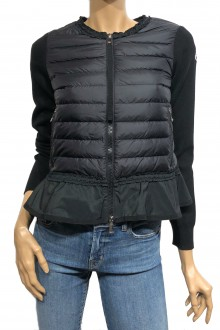 Black Moncler down and cotton tricot cardigan with ruche