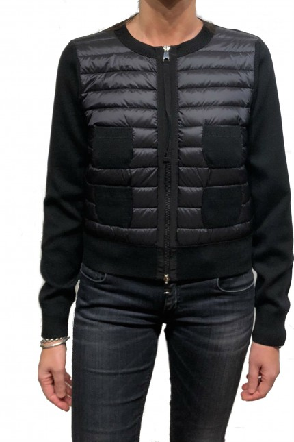 Cardigan Moncler in piuma e cotone nero