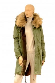 Green vintage  army Parka in lapin & murmasky