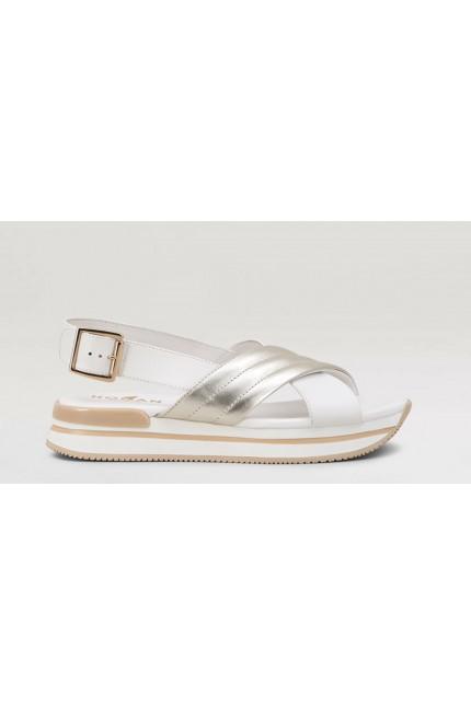 Hogan gold/white sandal H222