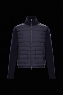 Navy Moncler down and wool cardigan
