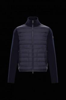 Cardigan Moncler in piuma e lana blu