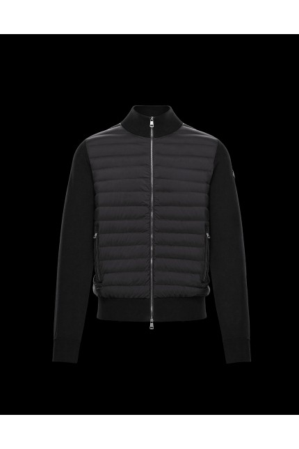 Black Moncler down and cotton cardigan