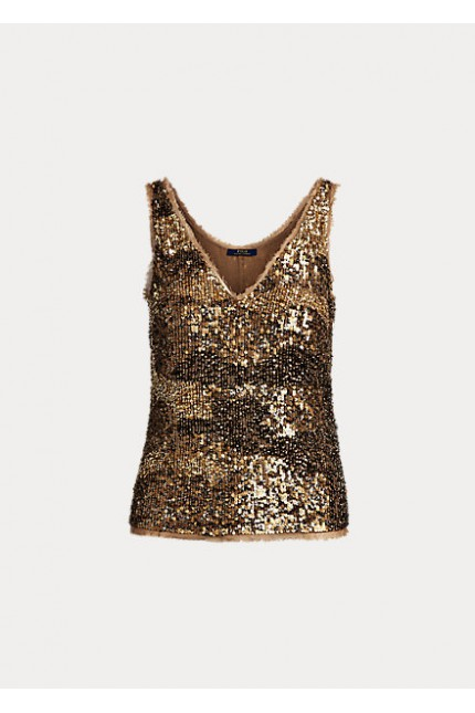 Top Ralph Lauren in paillettes bronzo