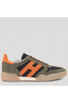 Sneakers Hogan H357 verde, nera e arancio