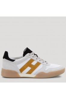 Sneakers Hogan H357 bianca, nera e gialla
