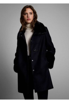Black  wool Fay coat