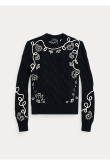Embroidered cable-knit jumper